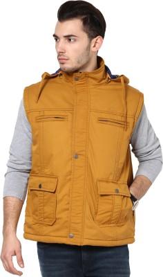 Okane Sleeveless Self Design Men,s Self Design Jacket Jacket