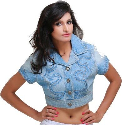 Its Hot 3/4 Sleeve Embroidered Women's Denim Jacket