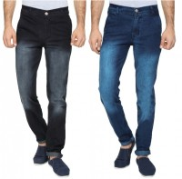Wajbee The Reasonable Jeans (Men's) - Wajbee The Reasonable Slim Men's Dark Blue, Black Jeans(Pack of 2)