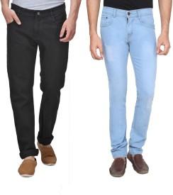 Rock Hudson Regular Men's Black, Blue Jeans(Pack of 2)