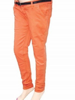 Shining Girl Slim Fit Women's Orange Jeans
