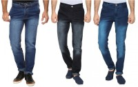 Wajbee The Reasonable Jeans (Men's) - Wajbee The Reasonable Slim Men's Dark Blue, Black Jeans(Pack of 3)