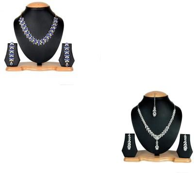 Rashi Jewellery Alloy Jewel Set(Blue, White)