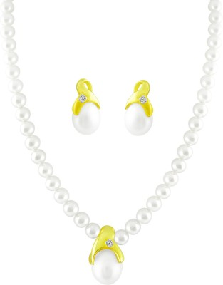 JPearls Yellow Gold 18kt Pearl Earring & Necklace Set available at Flipkart for Rs.20675