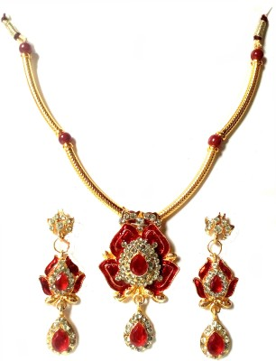Sai Shop Jewellery Metal Jewel Set(Red, Yellow)