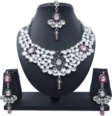 Shree Bhawani Art Jewellery Alloy Jewel Set(Pink, Green)
