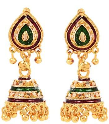 GldNera Colourful Brass Jhumki Earring