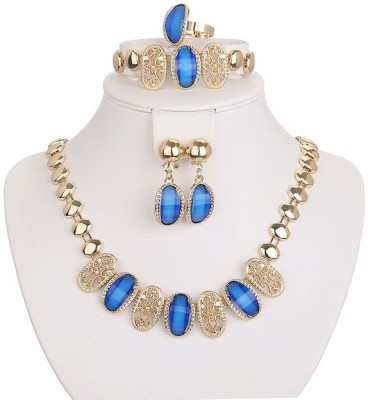 FreshMe Fashion Jewellery Zinc, Alloy Jewel Set(Blue, Gold)