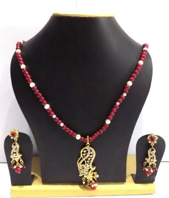 Jewels Kafe Brass Jewel Set(Maroon, Gold) at flipkart