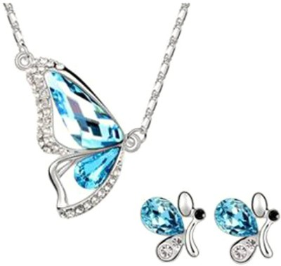 Joovaa Metal Jewel Set(Silver, Blue) at flipkart