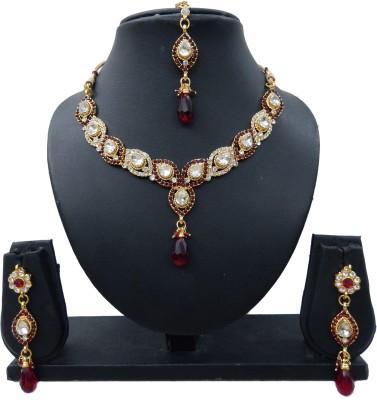 Shree Bhawani Art Jewellery Alloy Jewel Set(Maroon)