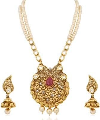 Reeva Fashion Jewellery Copper Jewel Set(Gold)