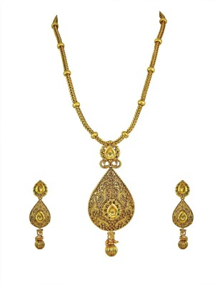 Orniza Brass Jewel Set(Beige) at flipkart