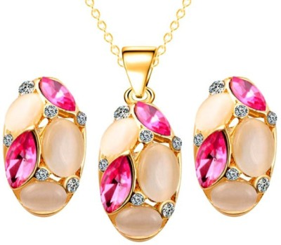 Kundaan Alloy Jewel Set(Gold, Pink) at flipkart
