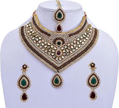 Lucky Jewellery Alloy Jewel Set(Maroon, Green)
