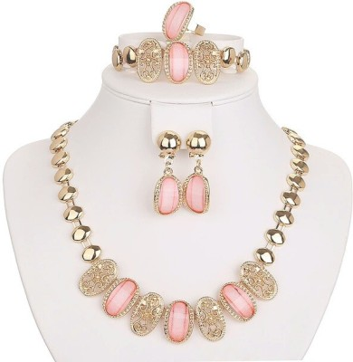 FreshMe Fashion Jewellery Zinc, Alloy Jewel Set(Pink, Gold)