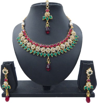 Shree Bhawani Art Jewellery Alloy Jewel Set(Maroon, Green)