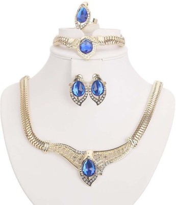 FreshMe Fashion Jewellery Zinc, Alloy Jewel Set(Gold, Blue)