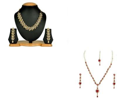 Rashi Jewellery Alloy Jewel Set(Gold, Red)