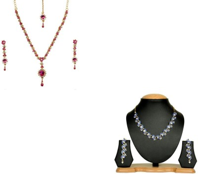 Rashi Jewellery Alloy Jewel Set(Pink, Blue)