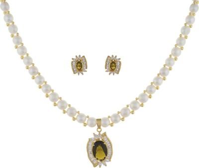 Classique Designer Jewellery Alloy Jewel Set(White)