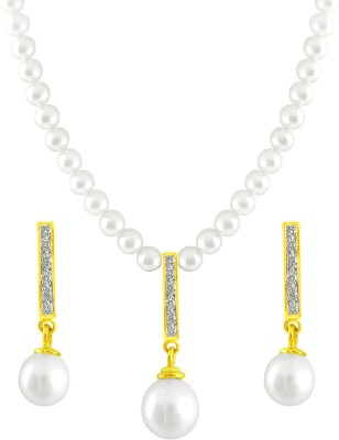JPearls Yellow Gold 18kt Pearl Earring & Necklace Set available at Flipkart for Rs.25775