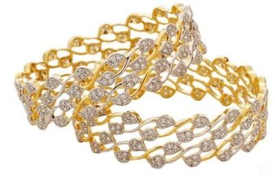 Naina Enterprises Acrylic Diamond 23K Yellow Gold Bangle Set
