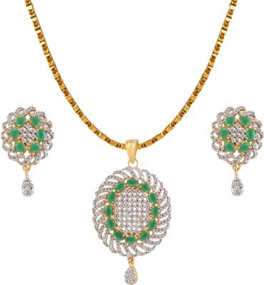 Heena Jewellery Alloy, Brass Jewel Set(Green)