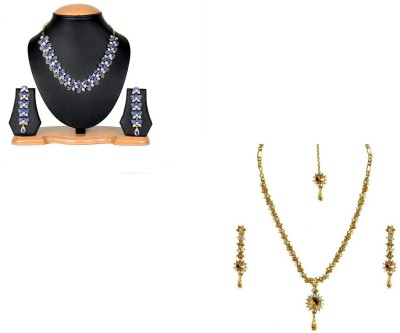 Rashi Jewellery Alloy Jewel Set(Blue, Gold)