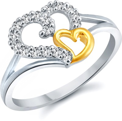 Vighnaharta White Coulpe Heart Alloy Cubic Zirconia 18K White Gold Ring at flipkart