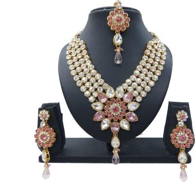 Shree Bhawani Art Jewellery Alloy Jewel Set(Pink)