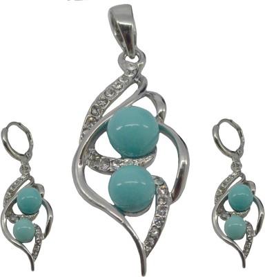 Saloni Fashion Jewellery Copper Jewel Set(Blue)