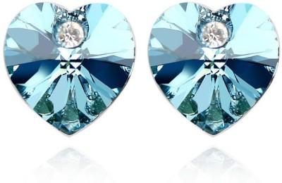 Silver Shoppee Crossed Hearts Crystal Alloy Stud Earring