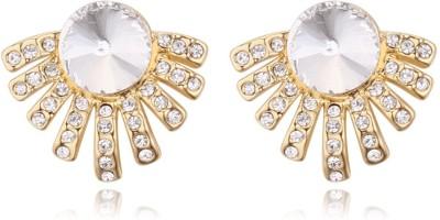 Atasi International American Diamond Gold Plated Crystal Alloy Stud Earring