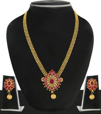 Zaveri Pearls Zinc Jewel Set(Gold, Maroon) at flipkart