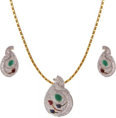 Heena Jewellery Brass, Alloy Jewel Set(Green, White)