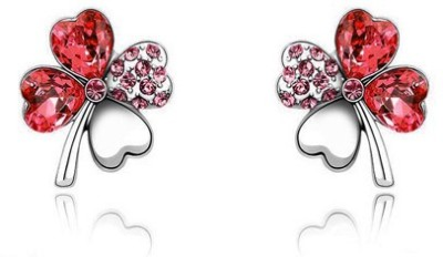 Silver Shoppee Passionate Clover Cubic Zirconia, Swarovski Crystal Alloy Stud Earring