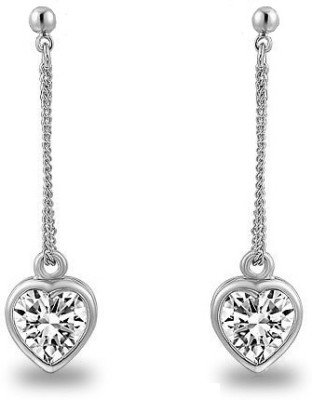 Silver Shoppee Valentine Special Crystal Metal Drop Earring