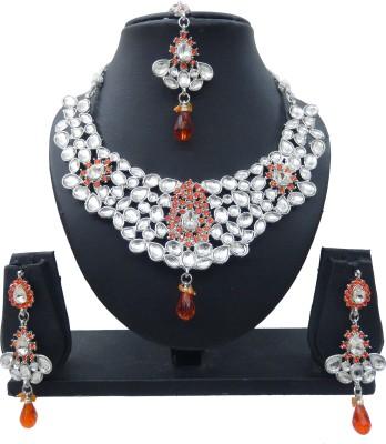 Shree Bhawani Art Jewellery Alloy Jewel Set(Orange)