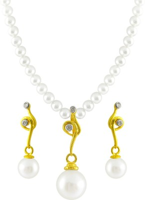 JPearls Yellow Gold 18kt Pearl Earring & Necklace Set available at Flipkart for Rs.21075