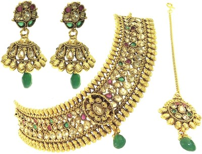 Satyam Jewellery Nx Copper Jewel Set(Red, Pink)