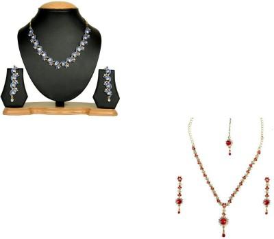 Rashi Jewellery Alloy Jewel Set(Blue, Red)