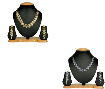 Rashi Jewellery Alloy Jewel Set(Gold, Blue)
