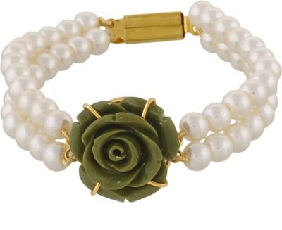Classique Designer Jewellery Alloy Pearl Rhodium Bracelet