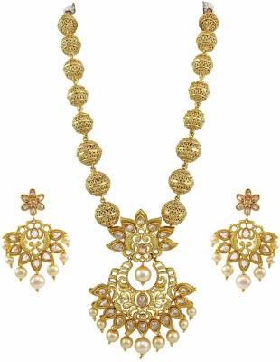 Orniza Brass Jewel Set(Beige) at flipkart