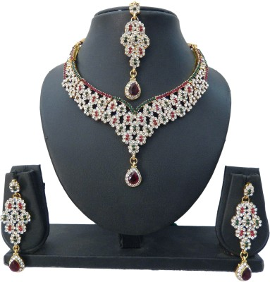 Shree Bhawani Art Jewellery Alloy Jewel Set(Maroon, Green)