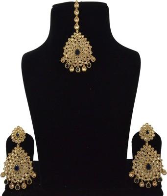 Saloni Fashion Jewellery Brass Jewel Set(Blue)