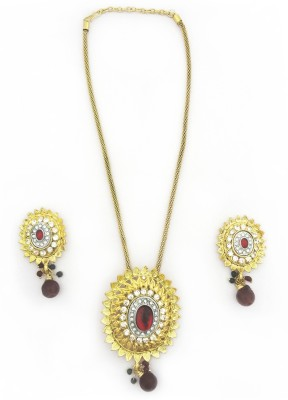 Sia Art Jewellery Alloy Jewel Set(Gold, Maroon)
