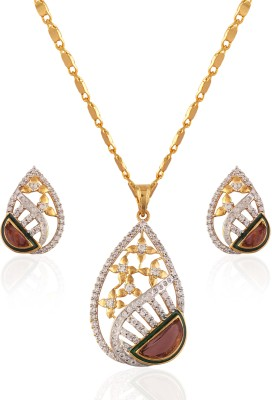 Heena Jewellery Brass, Alloy Jewel Set(Brown, White, Gold)