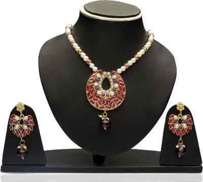 Veracious Jewellery Alloy Jewel Set(Maroon)